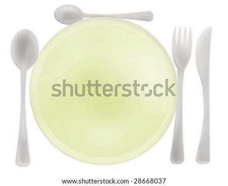 Menu for Restaurant , with fork, spoon, knife and plate - stock photo