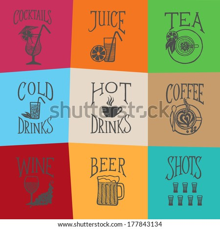MENU ICON - Latino style Drinks icon on color background - stock photo
