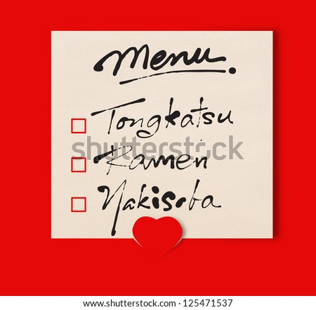 Menu note on red background