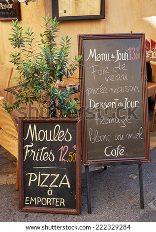Menu of street restaurant in Aix en Provence town, PACA, France - stock photo