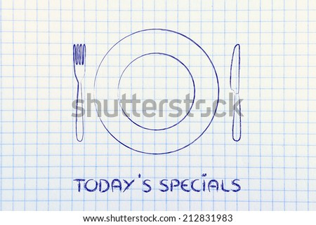 menu of the day and today's specials: fork, knife and plate restaurant theme