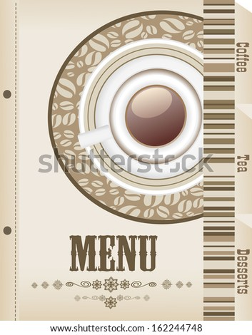 Menu with cup of coffee and grains for coffeehouse, restaurant, cafe, bar - stock photo