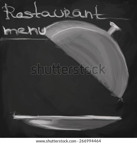 Menu written on a blackboard - stock photo
