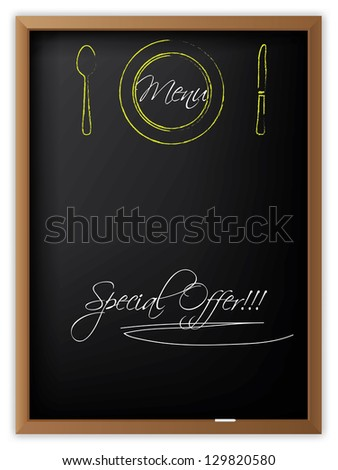 Menu written on a blackboard and with drawn dishes - stock photo