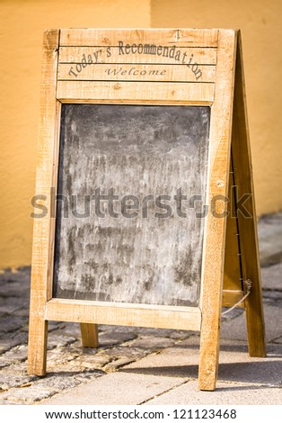 menurboard at a restaurant in italy - nice background with space for text - stock photo