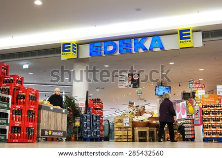 MEPPEN, GERMANY - FEBRUARY 27: Edeka supermarket in a shopping mall in Meppen. The Edeka Group is the largest German supermarket corporation, Taken on February 27, 2015 in Meppen, Germany - stock photo