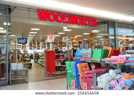 MEPPEN, GERMANY - FEBRUARY 27: Woolworth discount store in Meppen. Woolworth GmbH is a German owner of the Woolworths chain of high street shops in Germany and Austria, taken on February 27, 2015 - stock photo