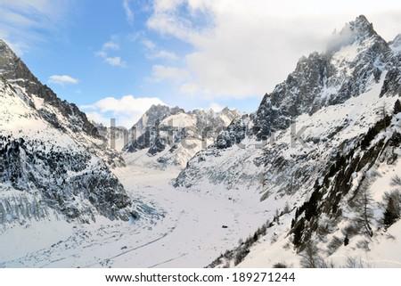 Mer de Glace (Sea of Ice) Chamonix, French Alps. The longest glacier in France - stock photo