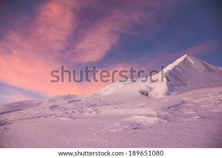 Mera Peak at sunrise, Everest region, Nepal - stock photo