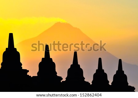 Merapi volcano viewing from Borobudur Temple - stock photo