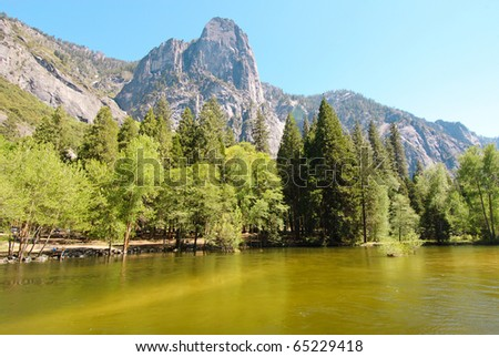 Merced River and granite cliffs