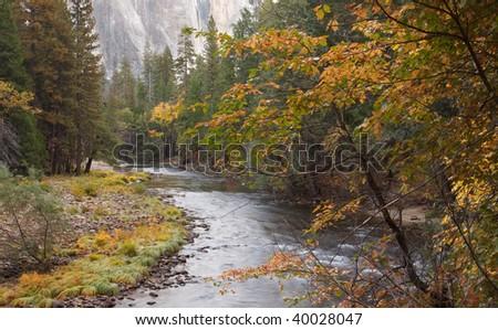 Merced River in Autumn - stock photo