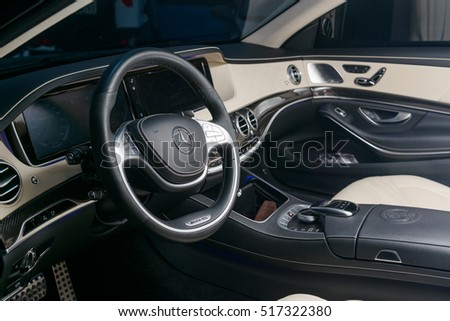 Mercedes Benz S65 2015 interior, steering wheel mainly. MOSCOW, RUSSIA - NOVEMBER 17, 2016: Parked the car in the center the city open by owner and specially prepared for taking pictures.