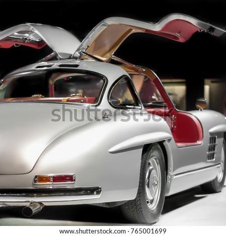 Mercedes Benz 300 SL Gullwing Vintage Luxury Car Rear Side On Cars Exhibition In Baku