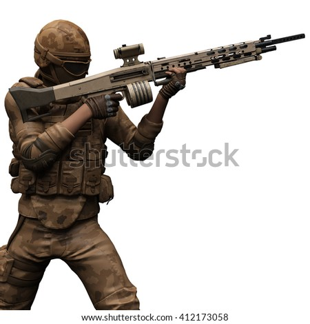 mercenary brown camouflage 3d illustration