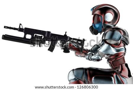 mercenary girl side view - stock photo