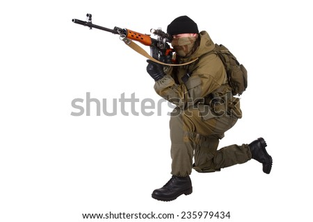 mercenary sniper with SVD sniper rifle isolated on white background - stock photo