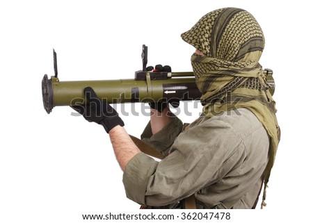 mercenary with anti-tank rocket launcher - RPG - stock photo