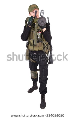 mercenary with bazooka gun isolated on white
