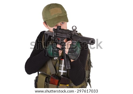 mercenary with mp5 submachine gun isolated on white