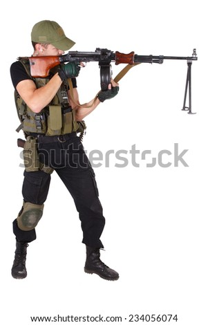 mercenary with RPG gun isolated on white