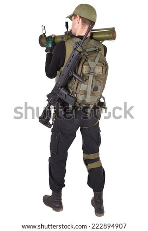 mercenary with RPG  isolated on white