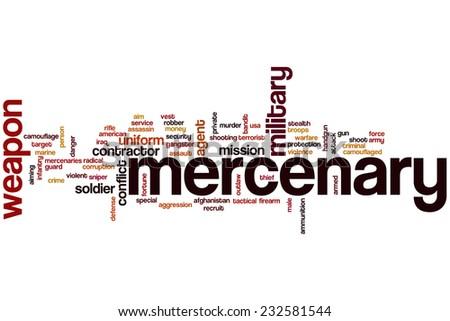 Mercenary word cloud concept - stock photo