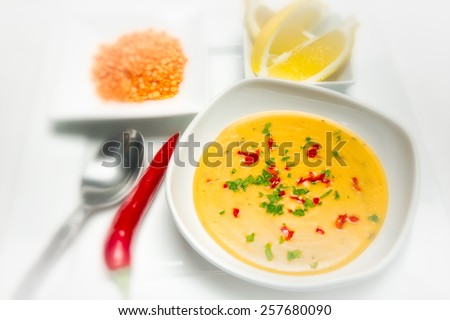 Mercimek Corbasi is a traditional Turkish lentil soup - stock photo