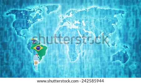 Mercosur members flags on blue digital world map with actual national borders - stock photo