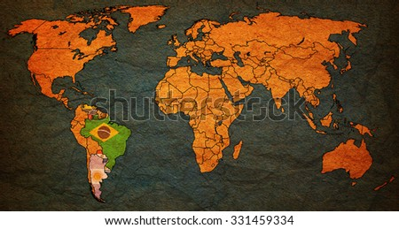 mercosur on world map with national borders - stock photo