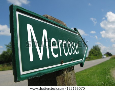 Mercosur signpost along a rural road - stock photo