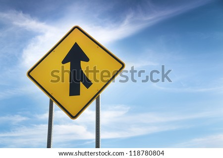 Merge road sign as symbol of cooperation - stock photo