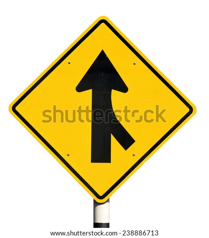 Merge road sign on white background.