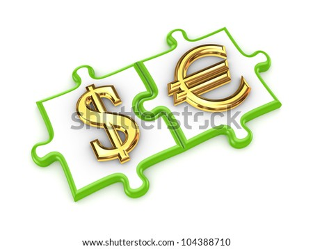 Merged puzzles with dollar and euro symbols.Isolated on white background.3d rendered. - stock photo