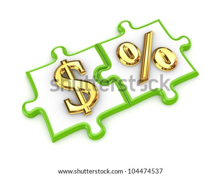Merged puzzles with dollar and percents symbols.Isolated on white background.3d rendered.