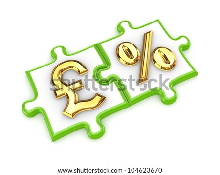 Merged puzzles with pound sterling and percents symbols.Isolated on white background.3d rendered.