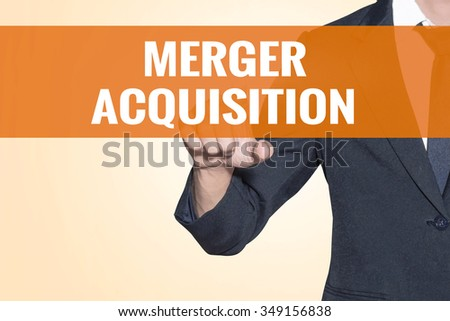 Merger Acquisition word Business man touch on virtual screen orange background - stock photo