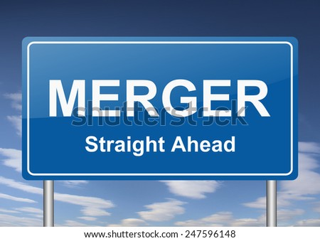 merger sign - stock photo