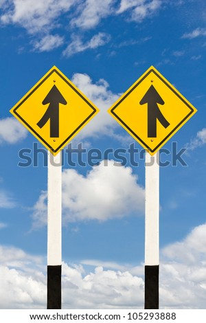 Merging lane from left and right road signpost on cloudy sky background - stock photo