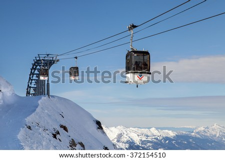 MERIBEL, FRANCE - JAN 24, 2016: Cabins of Mont Vallon cable car in 3 Valleys mountain ski resort