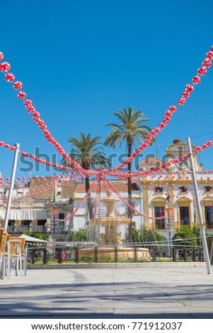 Merida, Extremadura. Spain. 09/04/2017 Decoration of the Spain Square in its Fairs and Festivals of the current year