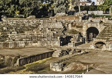 Merida, November 2012. Roman Amphitheater ruins in Merida, capital of Extremadura region in Spain. Year 8 B.C. 15,000 spectators. Archeological site UNESCO World Heritage Site. - stock photo