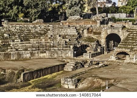 Merida, November 2012. Roman Amphitheater ruins in Merida, capital of Extremadura region in Spain. Year 8 B.C. 15,000 spectators. Archeological site UNESCO World Heritage Site. - stock photo