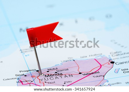 Merida pinned on a map of Mexico  - stock photo