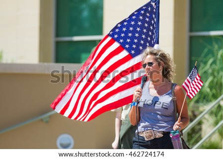 MERIDIAN, IDAHO/USA - JULY 30, 2016: Woman tells her story in support of teh local police at the pro police rally in Meridian, Idaho