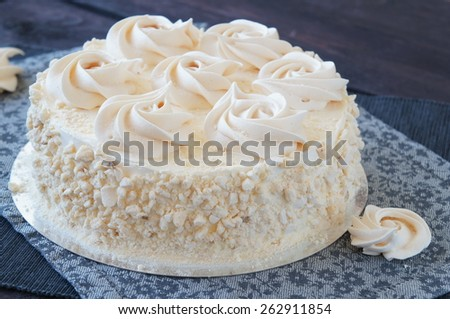 Meringue cake with chocolate cream and nuts - stock photo