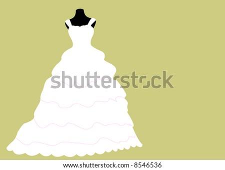meringue style white wedding dress on mannequin - stock photo