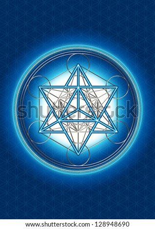 Merkaba - Star Tetrahedron - Metatrons Cube - Background - Flower Of Life - stock photo