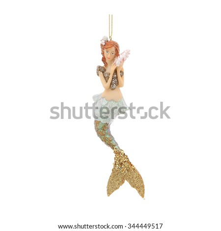 Mermaid. Christmas decoration isolated on a white