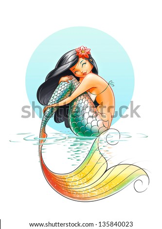mermaid fairy tale character illustration on white background